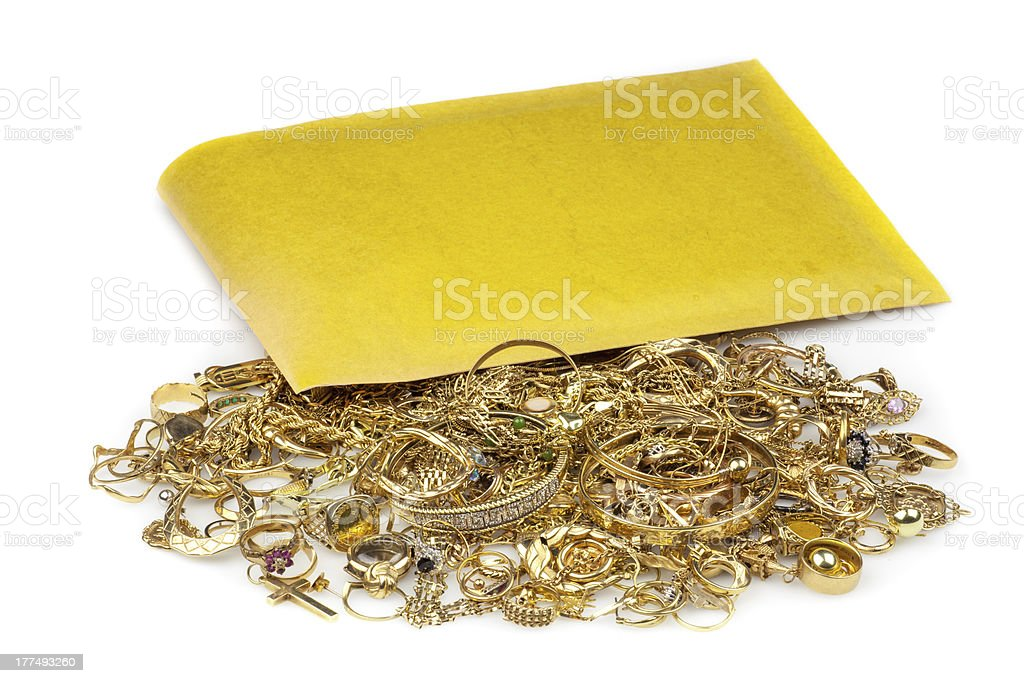Pile of Scrap Gold and envelope stock photo