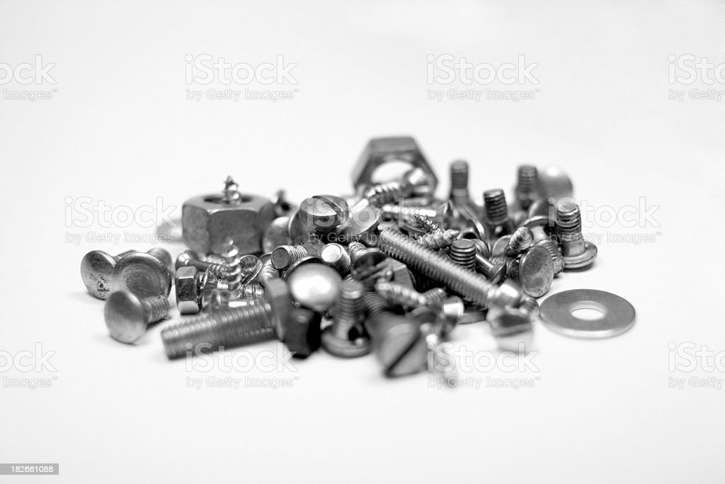 Pile of screws and nuts royalty-free stock photo