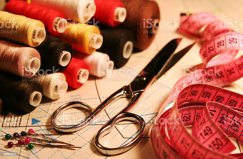 Pile of sewing and tailoring tools royalty-free stock photo