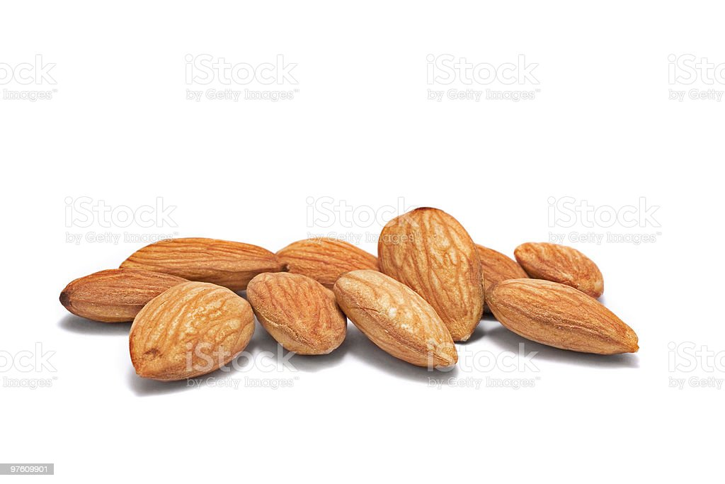 pile of shelled almond nuts stock photo