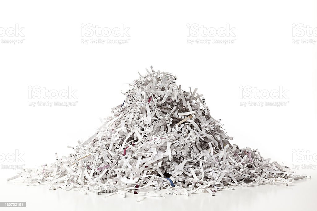Pile of Shredded Paper, Full Frame, Horizontal. stock photo
