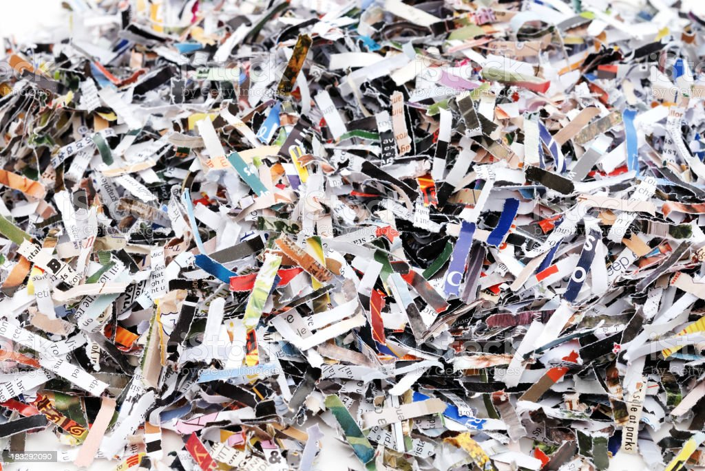 Pile of shredded paper pieces royalty-free stock photo