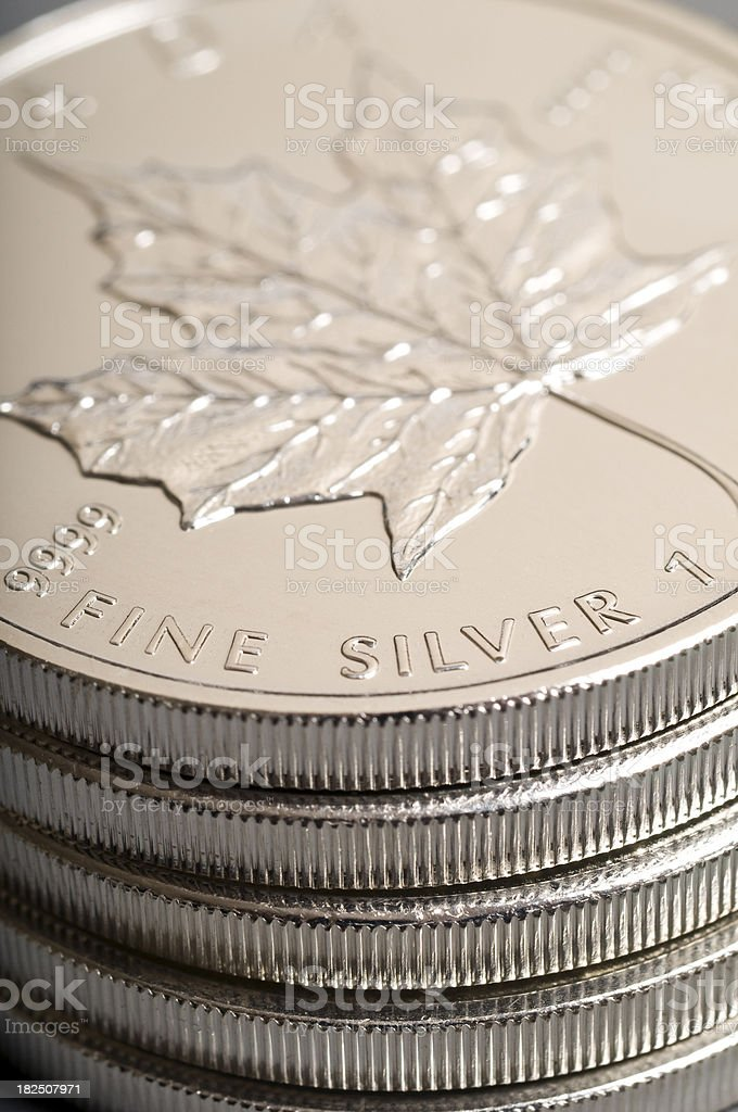 Pile of silver coins royalty-free stock photo