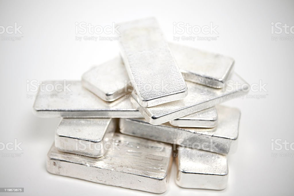 Pile of Silver Ingots stock photo
