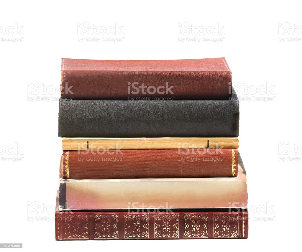 Pile of six old books stock photo