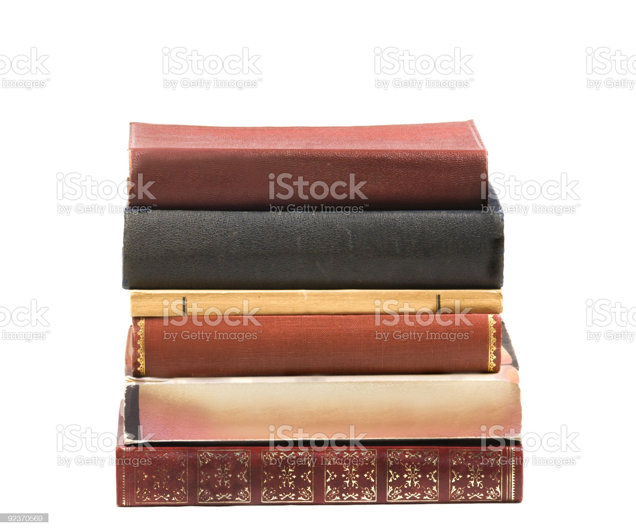 Pile of six old books royalty-free stock photo