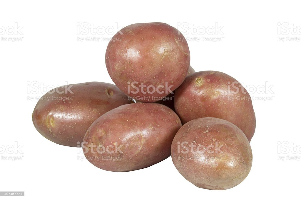Pile of Six Potatoes with Red Skin royalty-free stock photo