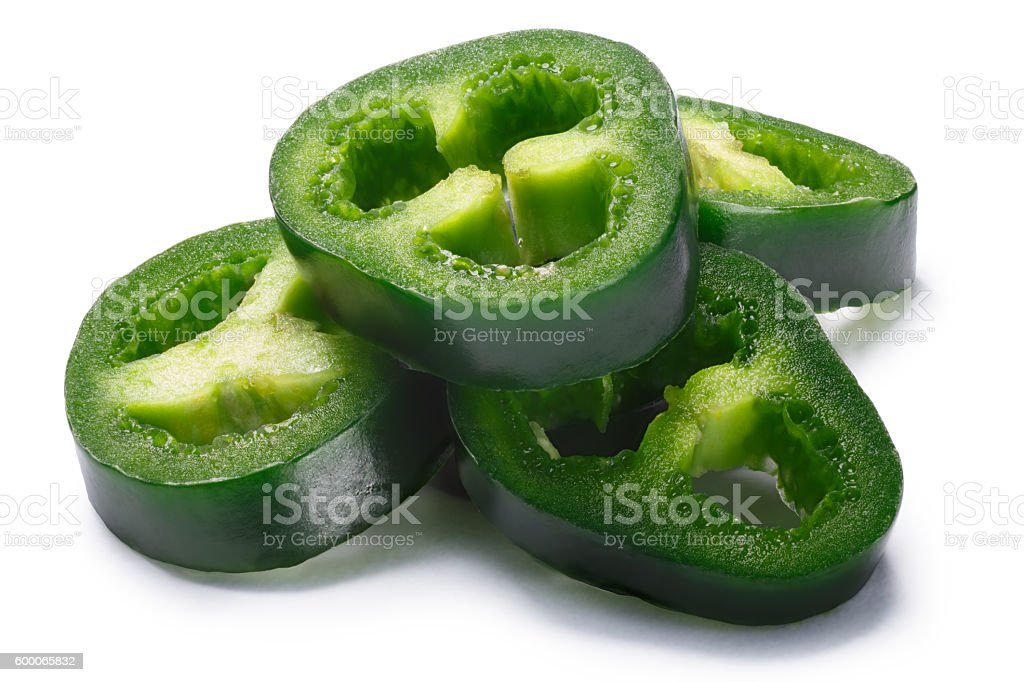Pile of sliced green Jalapeno, paths stock photo