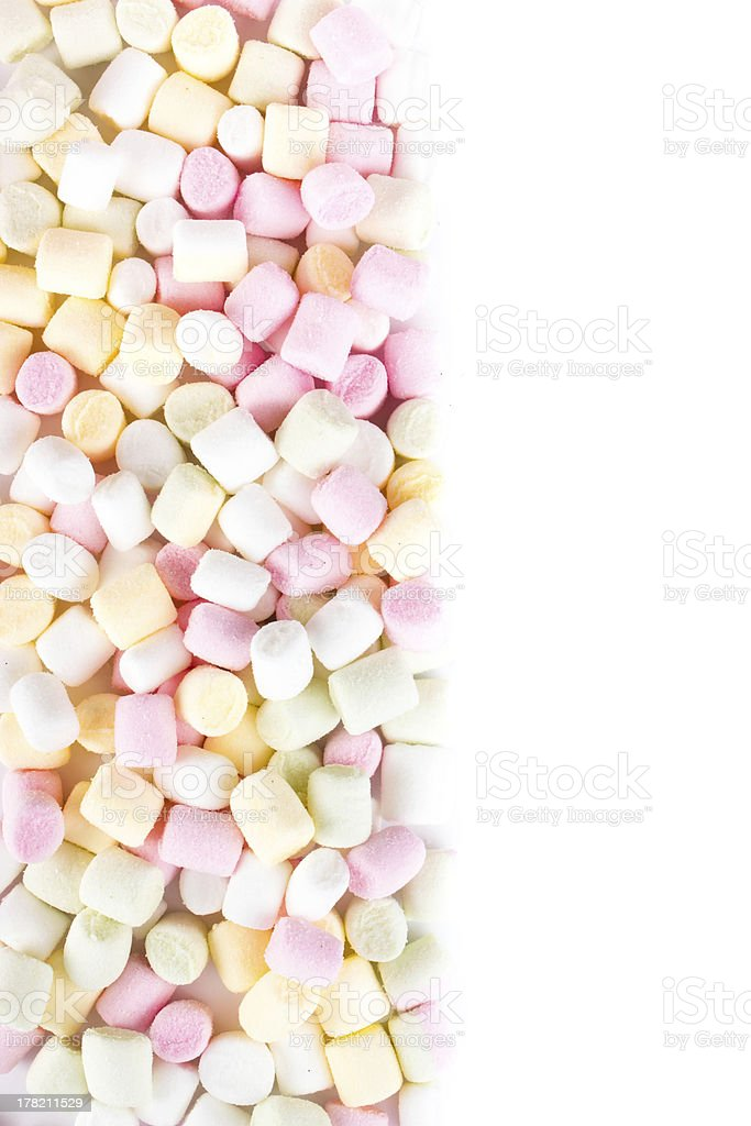 pile of small colored puffy marshmallows as background royalty-free stock photo