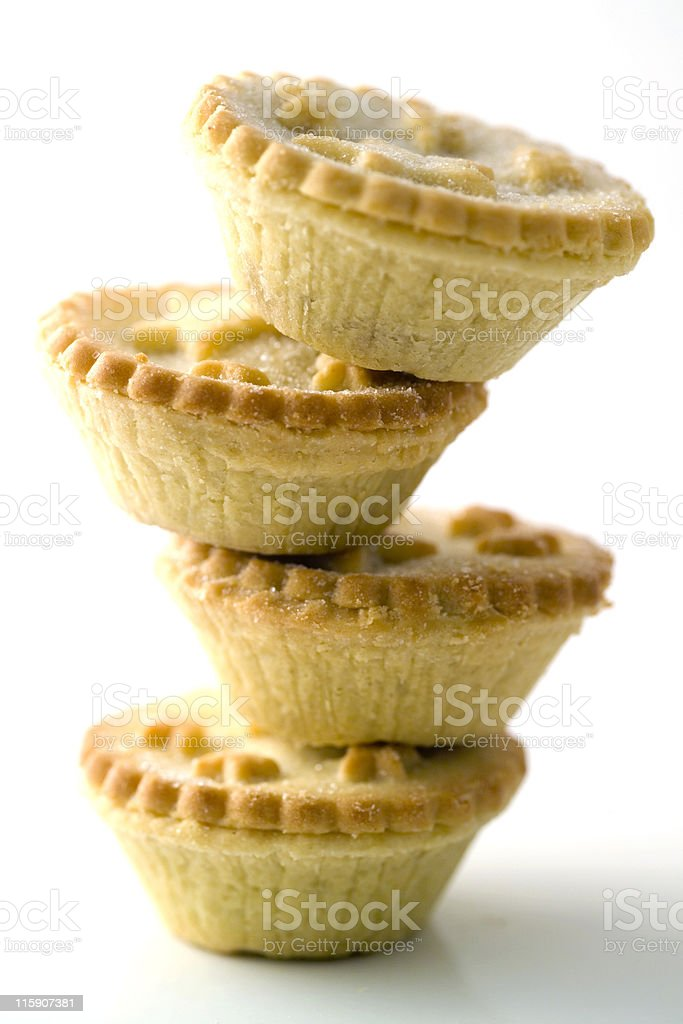 Pile of small fruit or mincemeat pies stock photo