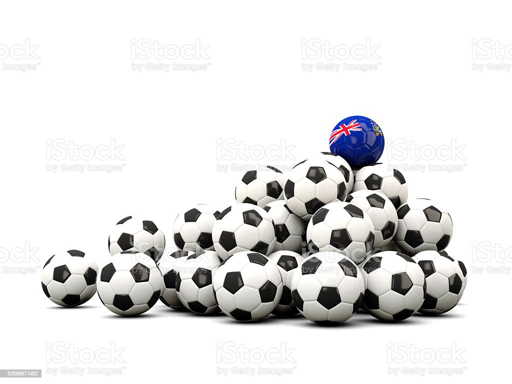 Pile of soccer balls with flag of south georgia stock photo