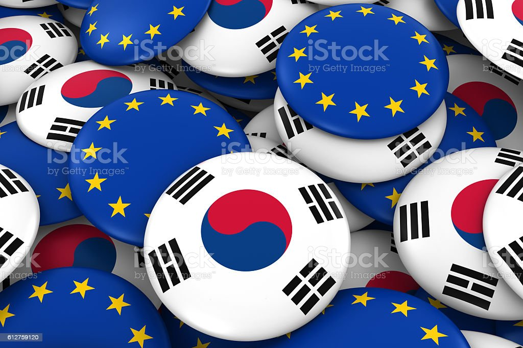 Pile of South Korean and European Flag Buttons 3D Illustration stock photo