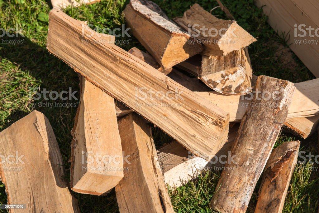 Pile of split firewood stock photo
