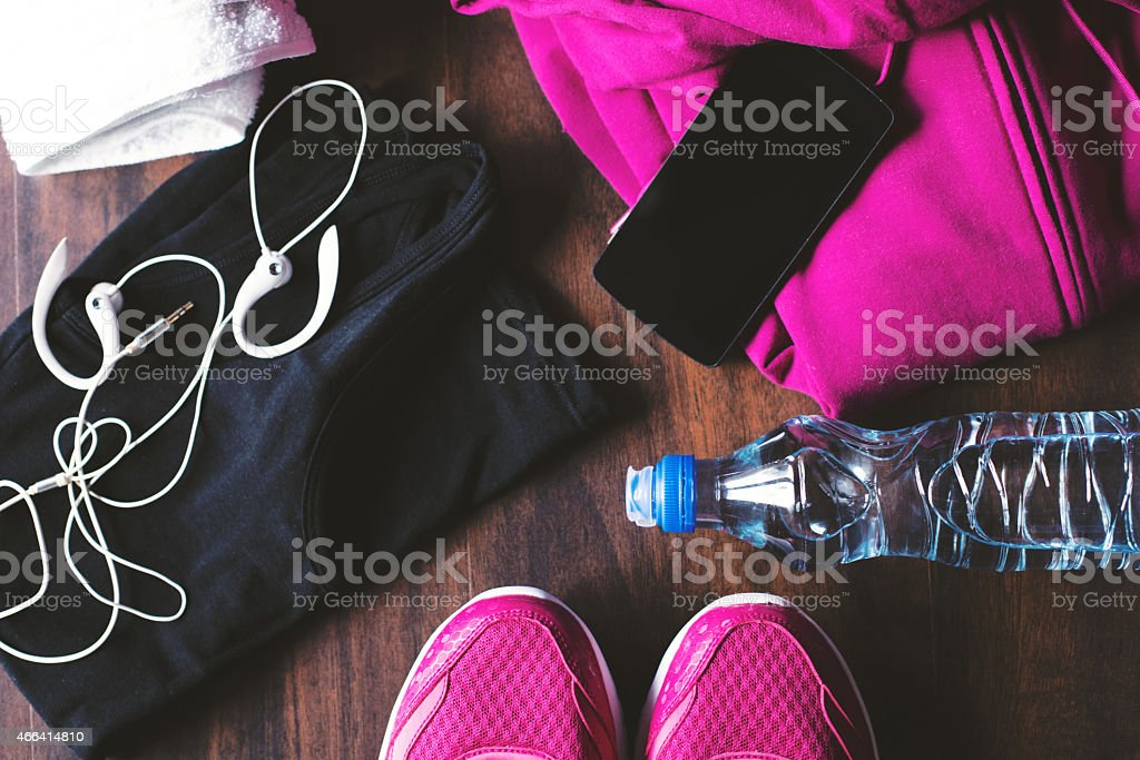 A pile of sports equipment on the floor stock photo