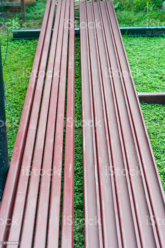 pile of steel bar for building construction stock photo