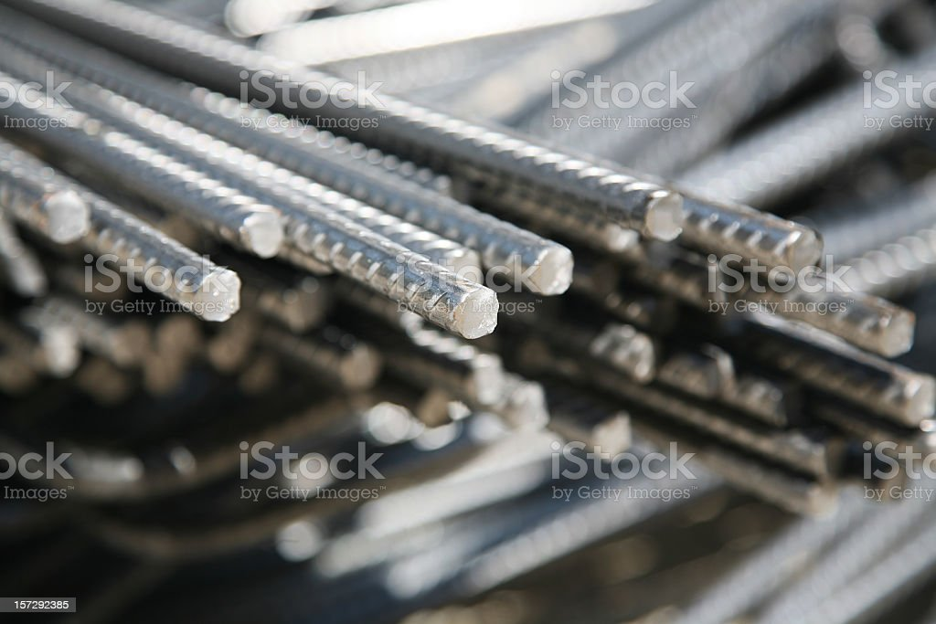 Pile of Steel bars with threads royalty-free stock photo