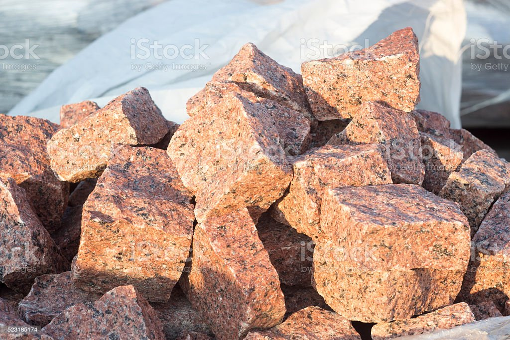 pile of stone blocks stock photo