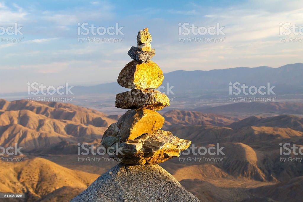 Pile of Stones in Desert Landscape stock photo