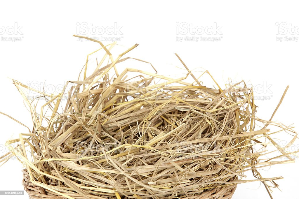 pile of straw on a white background royalty-free stock photo