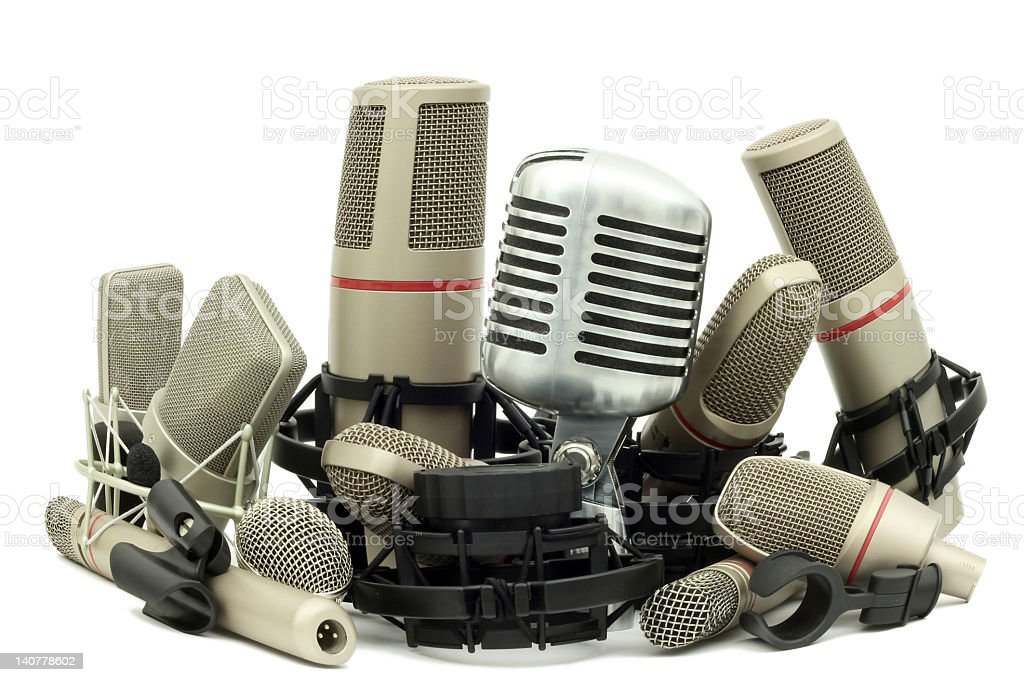 Pile of Studio Microphones - Fish Eye royalty-free stock photo