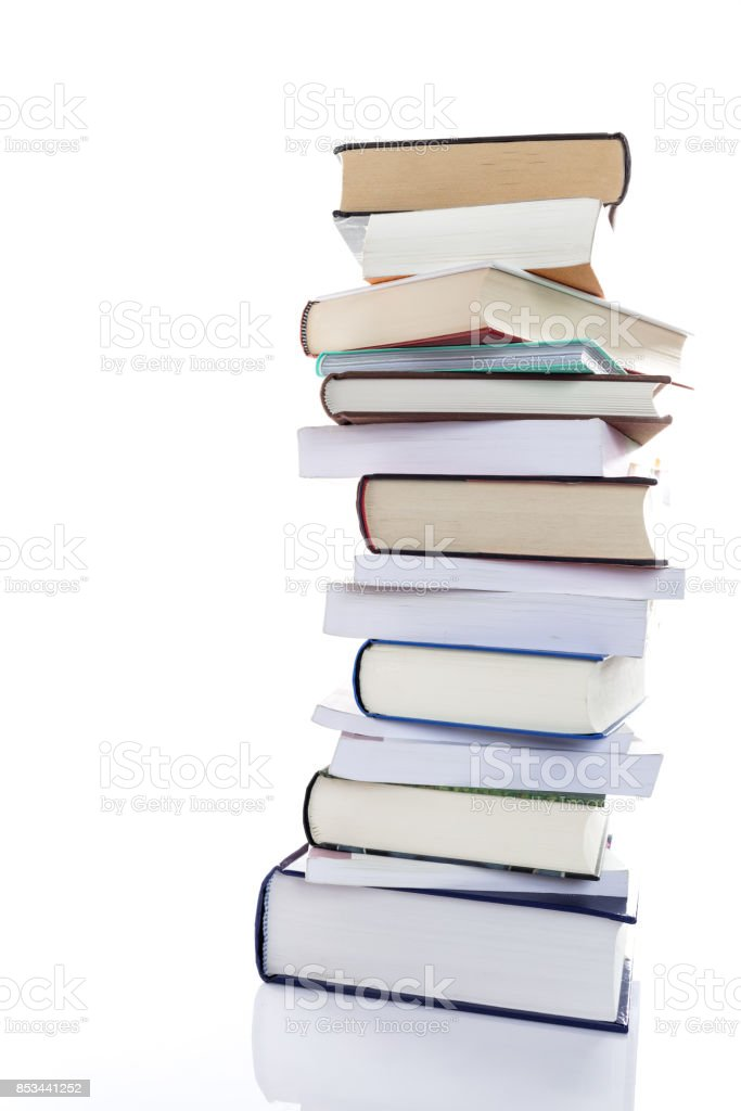 pile of study books stock photo