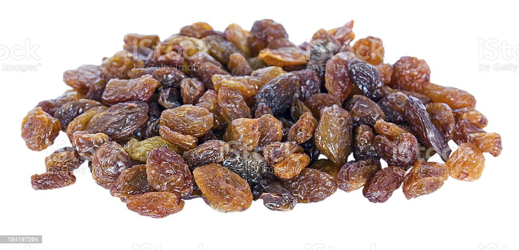 Pile of sultana raisins (Thompson Seedless) isolated stock photo
