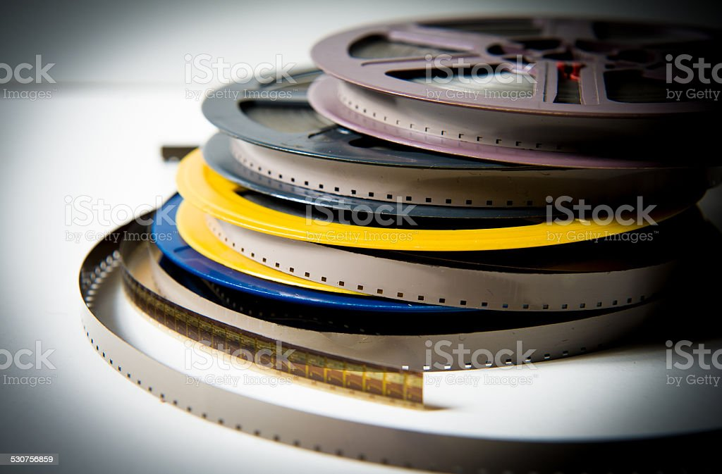 Pile of super 8mm movie reels stock photo