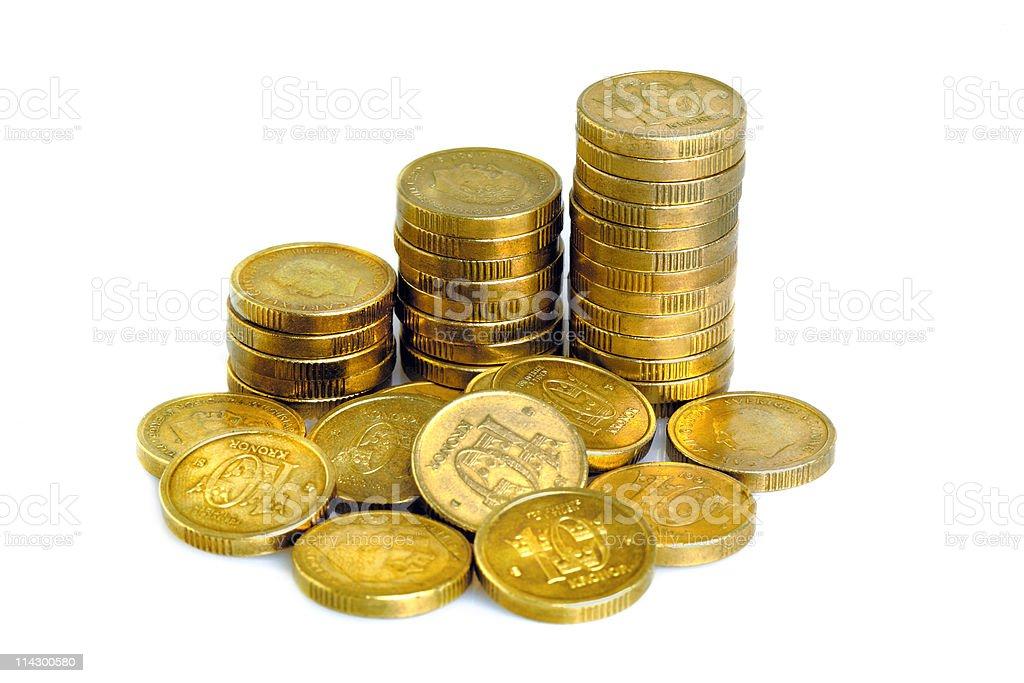 A pile of Swedish 10 krona on a white background stock photo
