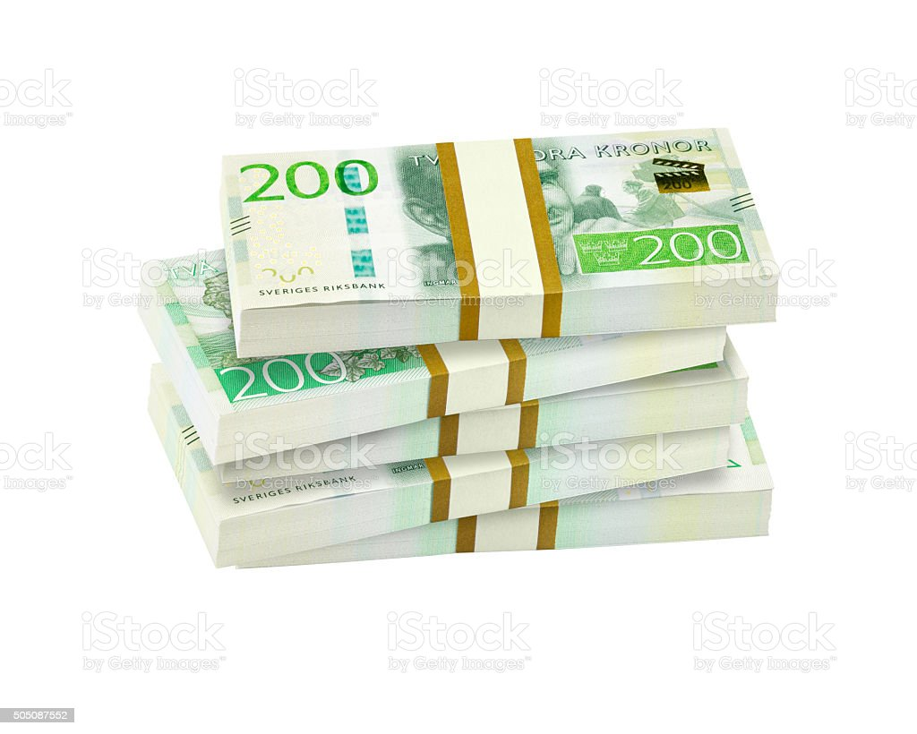 Pile of swedish 200 crowns banknotes. stock photo