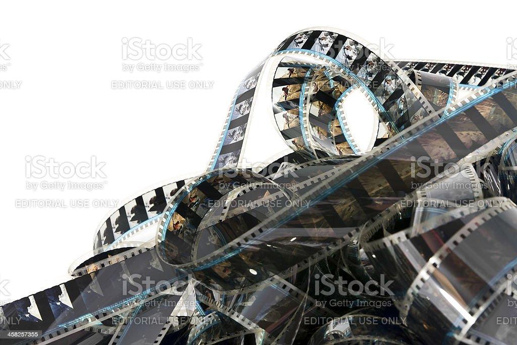 Pile of tangled filmstrip stock photo