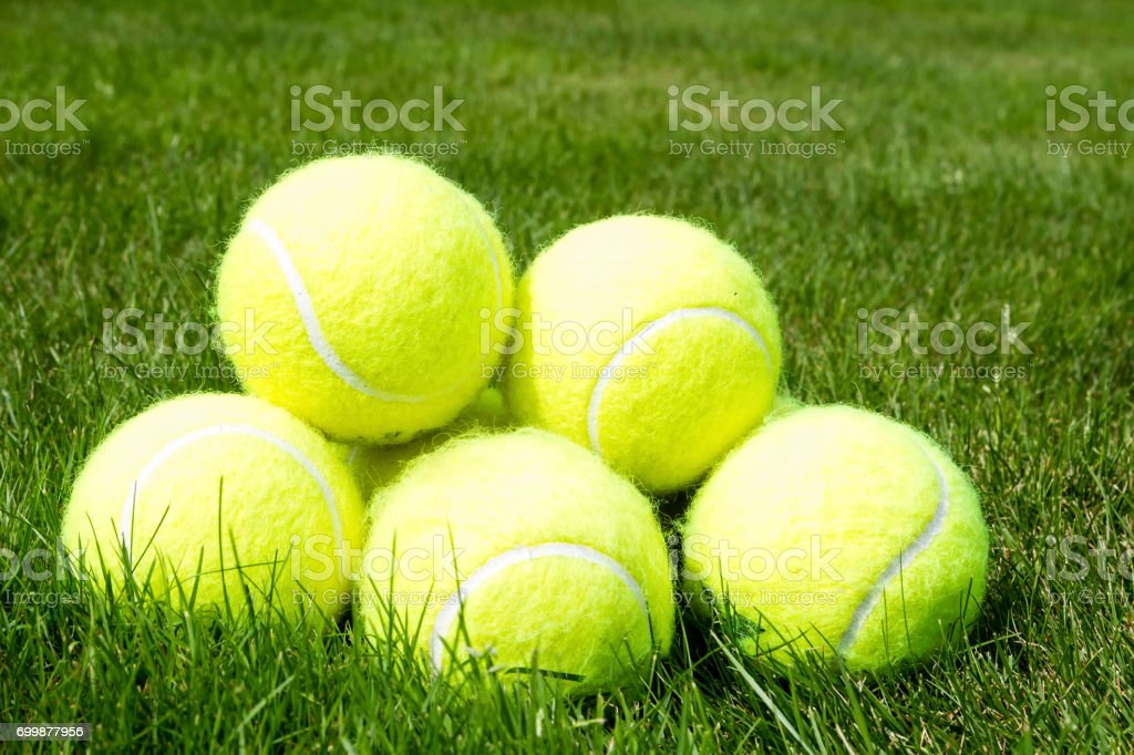 Pile of tennis balls stock photo