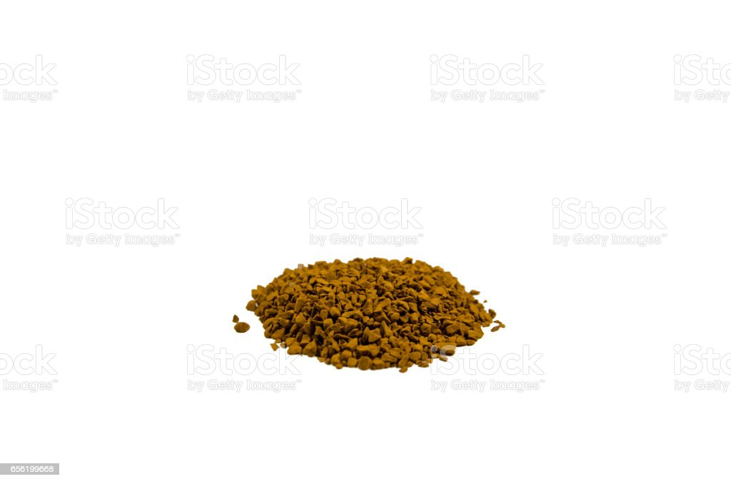 Pile of the instant granulated coffee isolated on white background stock photo
