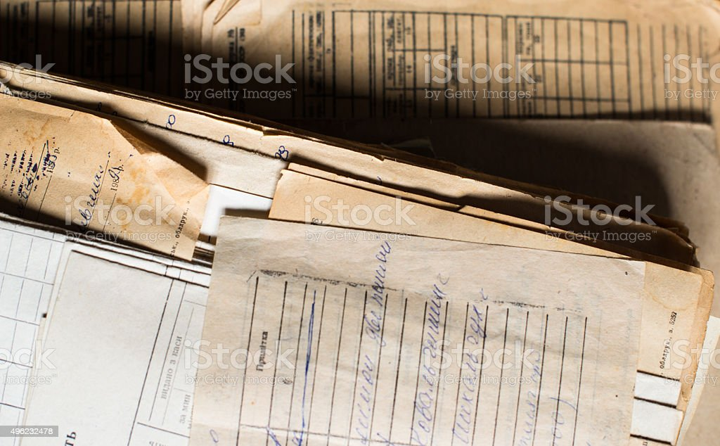 Pile of the old paper documents in the archive stock photo