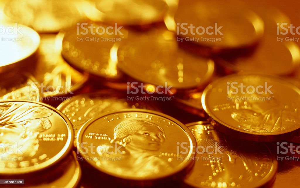 Pile of the US coins stock photo