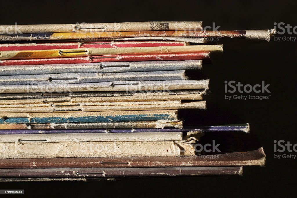 Pile of thin books stock photo