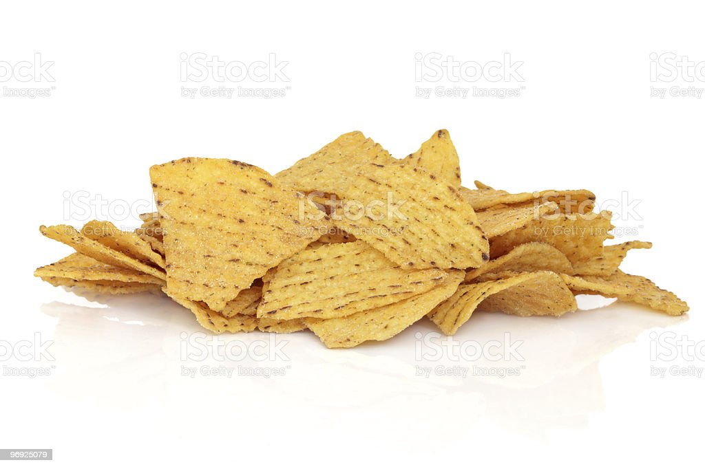 Pile of tortilla chips on a white background stock photo