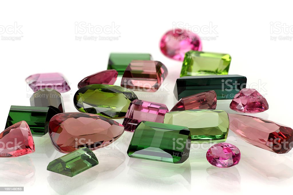 Pile of Tourmaline in various color stock photo