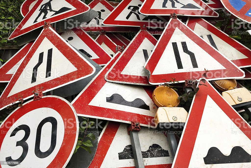 Pile of traffic signs stock photo