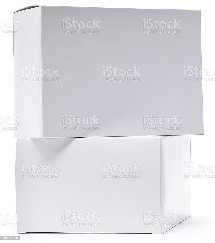 Pile of two blank white cartons ready for labels royalty-free stock photo