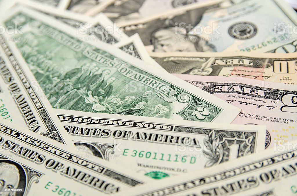Pile of two dollar bills stock photo