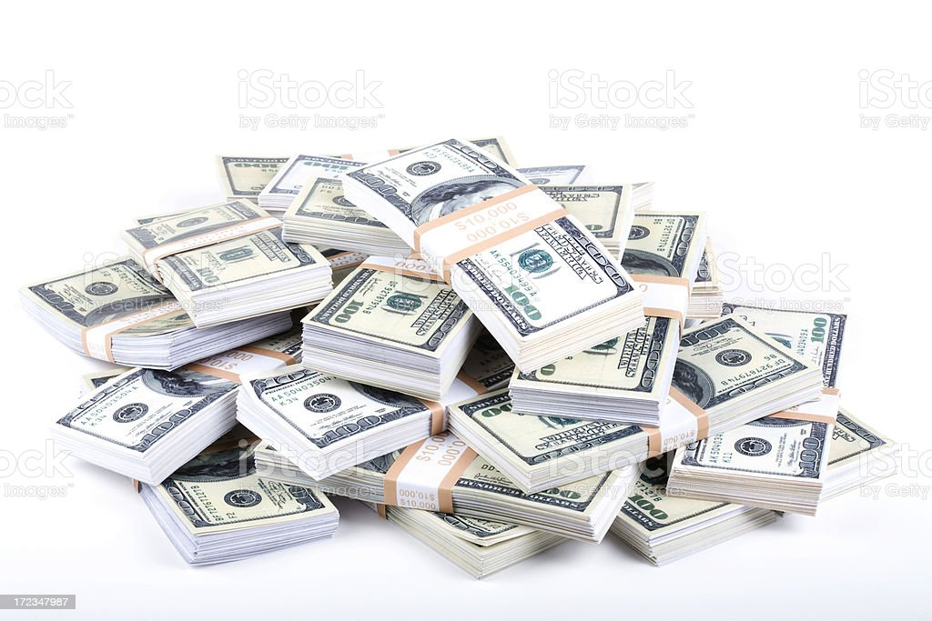 Pile of US currency royalty-free stock photo