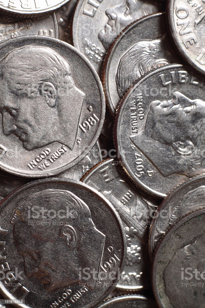 Pile of US Dimes royalty-free stock photo