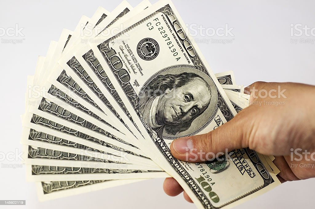 Pile of US Dollars royalty-free stock photo
