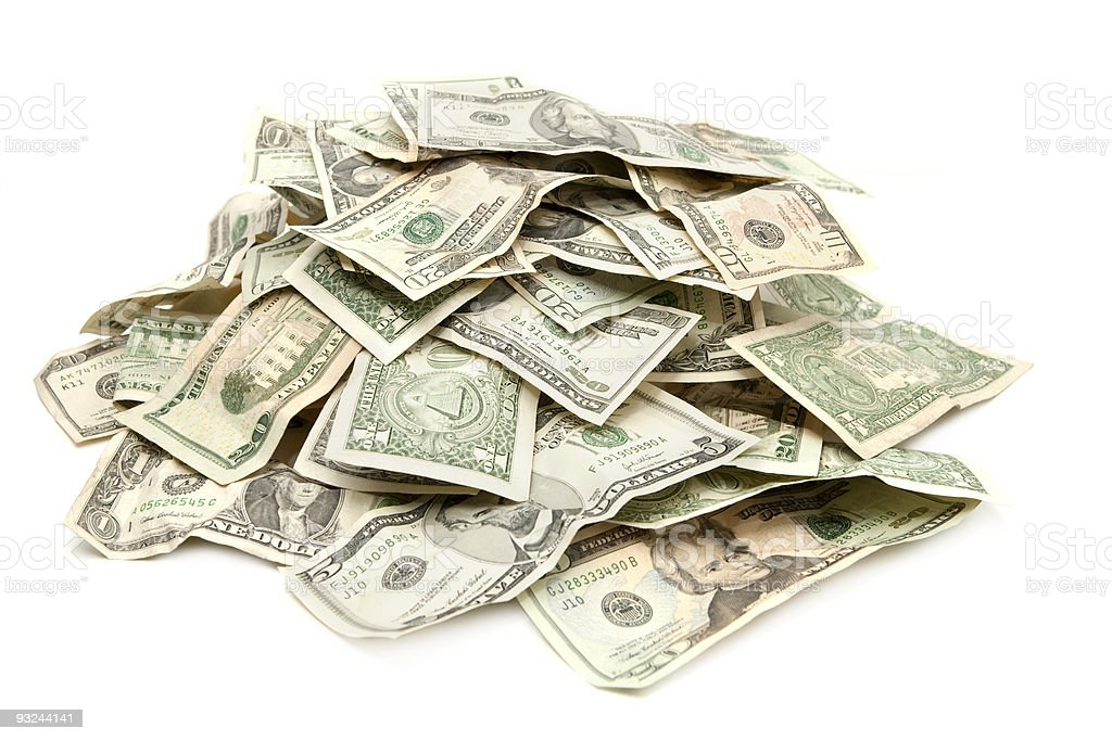 Pile of US Paper Currency royalty-free stock photo