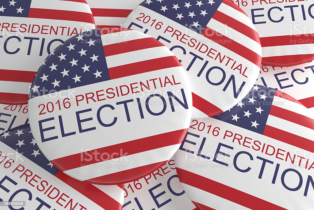 Pile Of US Presidential Election 2016 Badges, 3d illustration stock photo