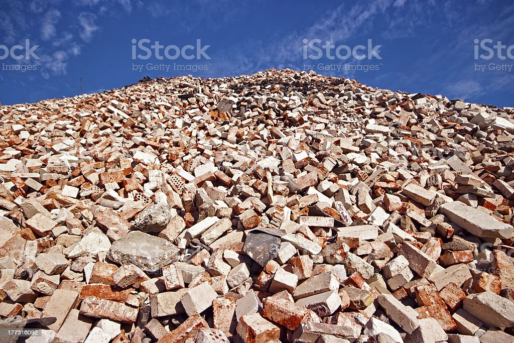 Pile of used bricks royalty-free stock photo