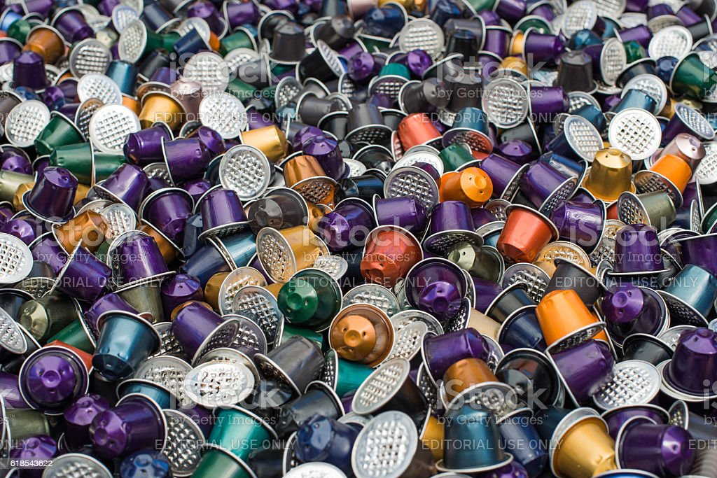 Pile of Used Coffee Pods stock photo