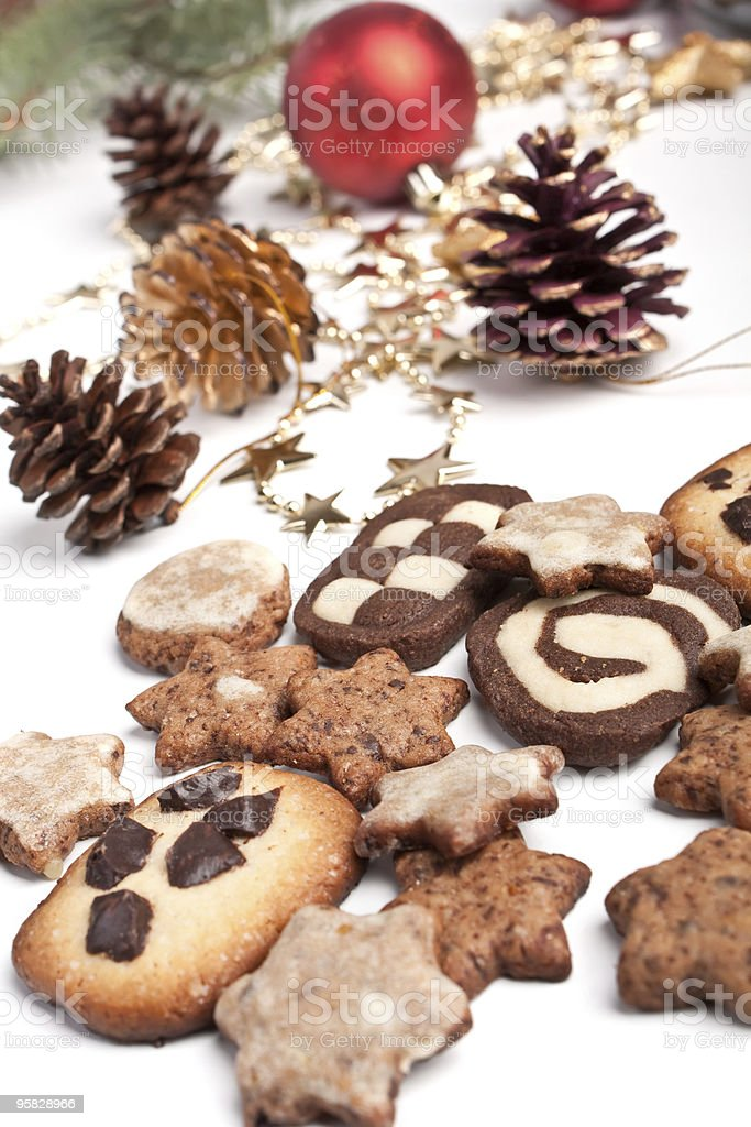 pile of various christmas cookies stock photo