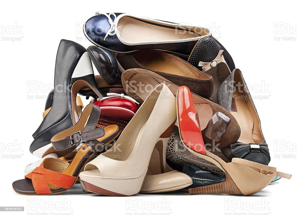Pile of various female shoes, with clipping path royalty-free stock photo
