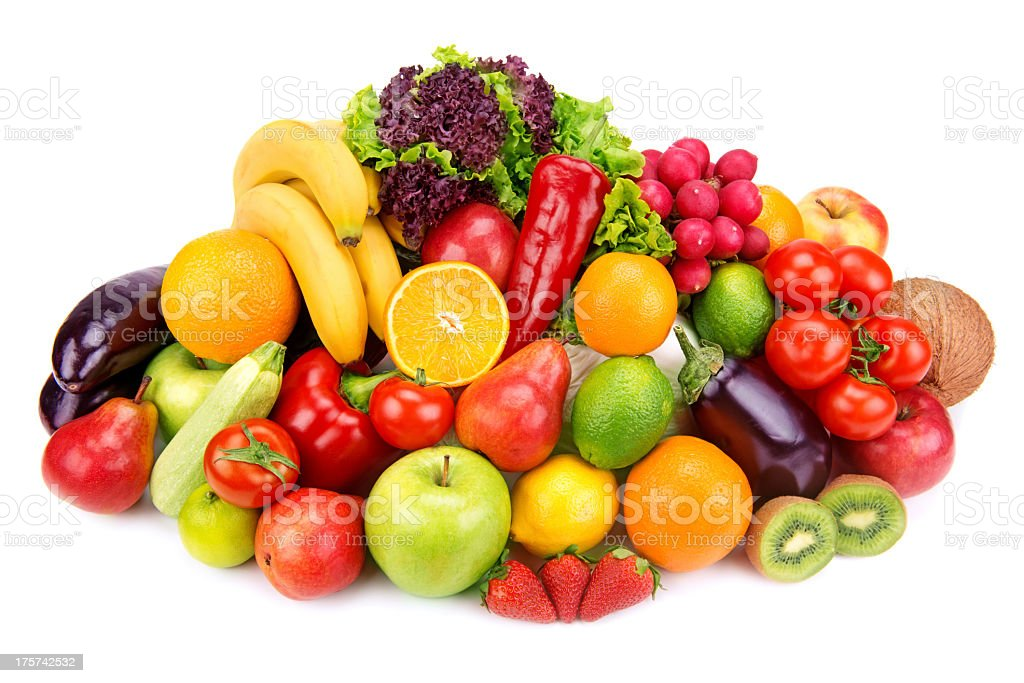 Pile of various fresh fruits and vegetables royalty-free stock photo